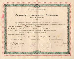 1930 - certificat d'instruction religieuse - Jeanne Rebiffé