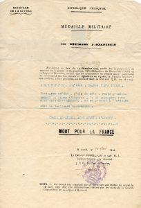 1924 - croix de guerre Rebuffé Alfred