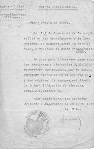 Bouillon Pierre Alphonse - 1919 04 19 copie d'avis de décès Angerville