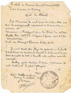 Bouillon Pierre Alphonse - 1919 08 14 Avis de décès Pussay