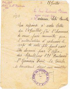 Bouillon Pierre Alphonse - 1920 07 27 exhumation ste Menehould